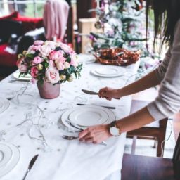 woman setting her holiday table
