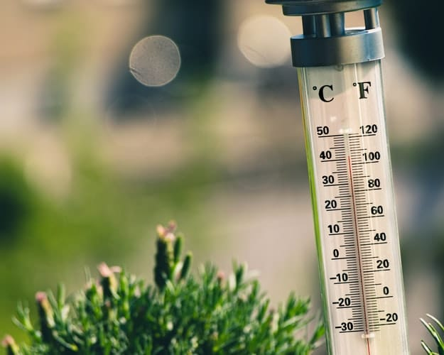 A thermometer outside